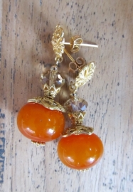 """Oorbellen """"Orange Amber"""""""