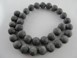 Lava matzwart ronde kraal 12 mm