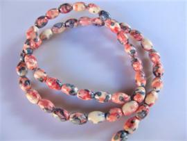 Jaspis rijstkraal wit-roze-blauw 7.5x5 mm