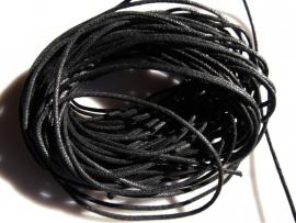 Waxkoord zwart 2 mm 10 cm