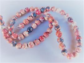 Jaspis ronde kraal roze-blauw-wit 6.5 mm