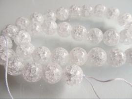 Bergkristal kraal crackle rond 12 mm