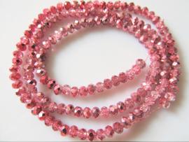 Kristalglas rondel facet kraal roze AB 3.5x4 mm