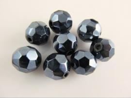 Hematiet facet glaskraal rond 9.5-10 mm