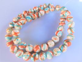 Jaspis ronde kraal wit-oranje-turquoise 8.2-8.5 mm
