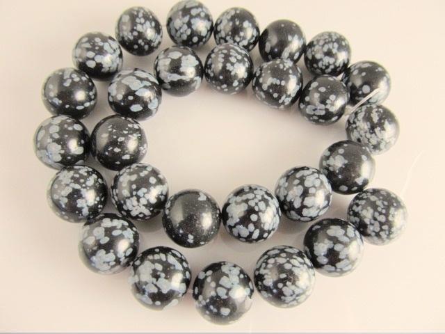 Obsidiaan sneeuwvlok ronde kraal 14 mm