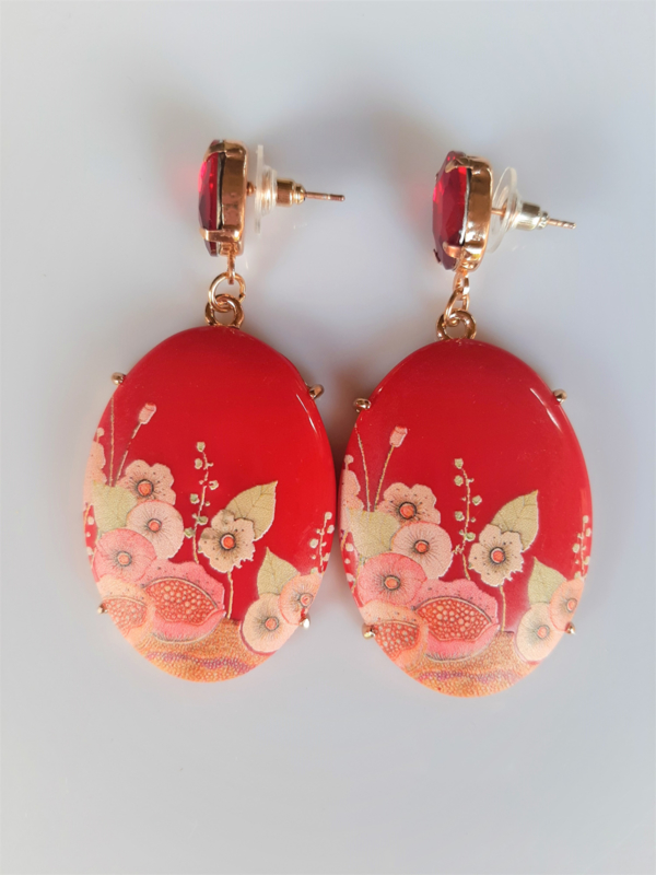 """Oorbellen """"Red Flowers"""""""