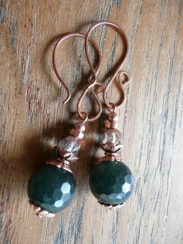"""Oorbellen """"Copper Green Jade"""""""