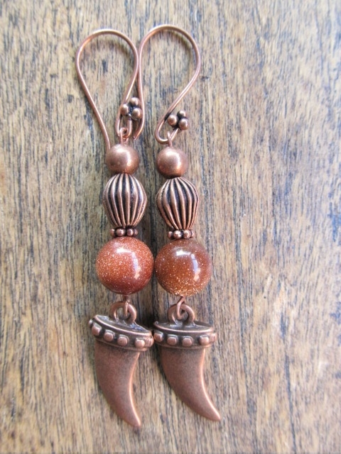 "Oorbellen ""Copper Goldstone"""