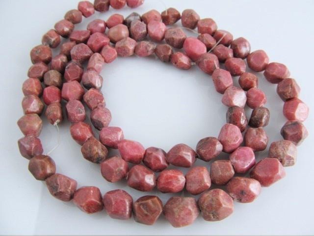 Rhodoniet nugget facet kraal 8 mm roze