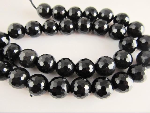 Obsidiaan kraal regenboog microfacet rond 12 mm