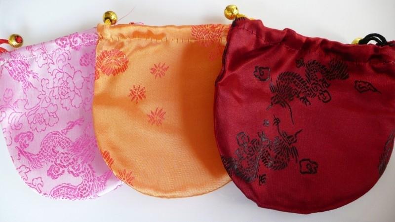 Chinees zijde zakje rood 12,5x12,5 cm