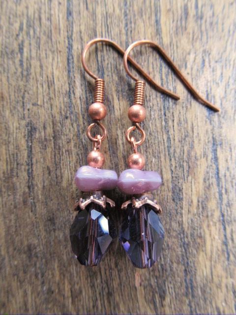 """Oorbellen """"Copper Different Purple"""""""