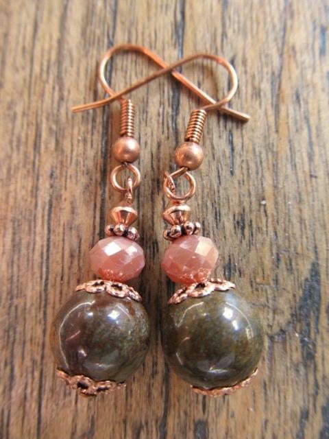 """Oorbellen """"Copper Brown Opal"""""""