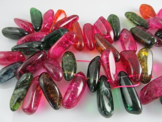 Bergkristal gekleurde crackle hanger 24-30 mm
