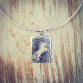 Pendant silver horse silhouette - hanger zilveren paard silhouet
