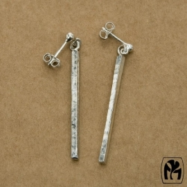 Silver earrings sticks - Zilveren oorbellen staafjes (L1)