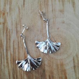 Silver earrings ginkgo - Zilveren oorbellen ginkgo (G8)