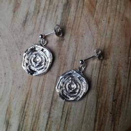 Silver earrings rose - Zilveren oorbellen roos (O16)