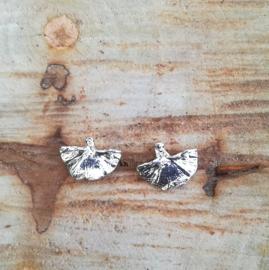 Silver earrings ginkgo - Zilveren oorbellen ginkgo (G7)