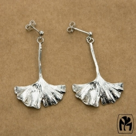 Silver earrings ginkgo - Zilveren oorbellen ginkgo (G8)