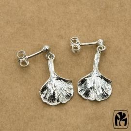 Silver earrings ginkgo - Zilveren oorbellen ginkgo (G10)