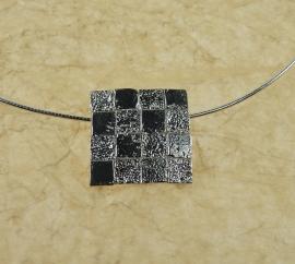 Silver pendant squares - Zilveren hanger vierkantjes (Ha 149)