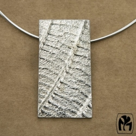 Silver pendant leave texture - Zivleren hanger bladnerven (Ha33)