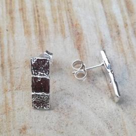Silver earrings 3 squares - ZIlveren oorbellen 3 vierkantjes