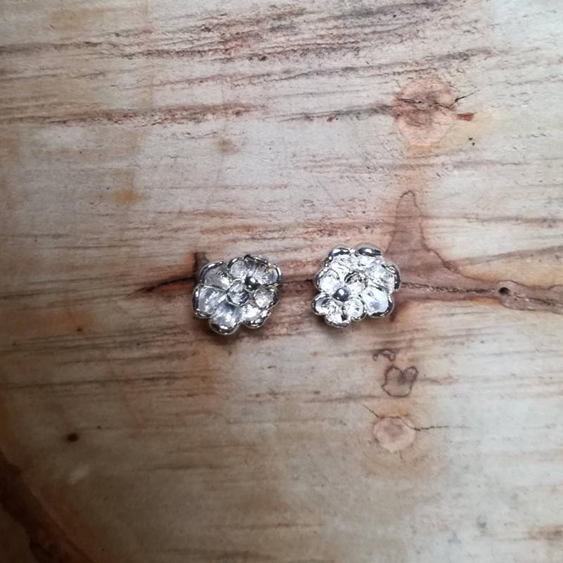Silver earrings flowers - Zilveren oorbellen bloemen(Z7)