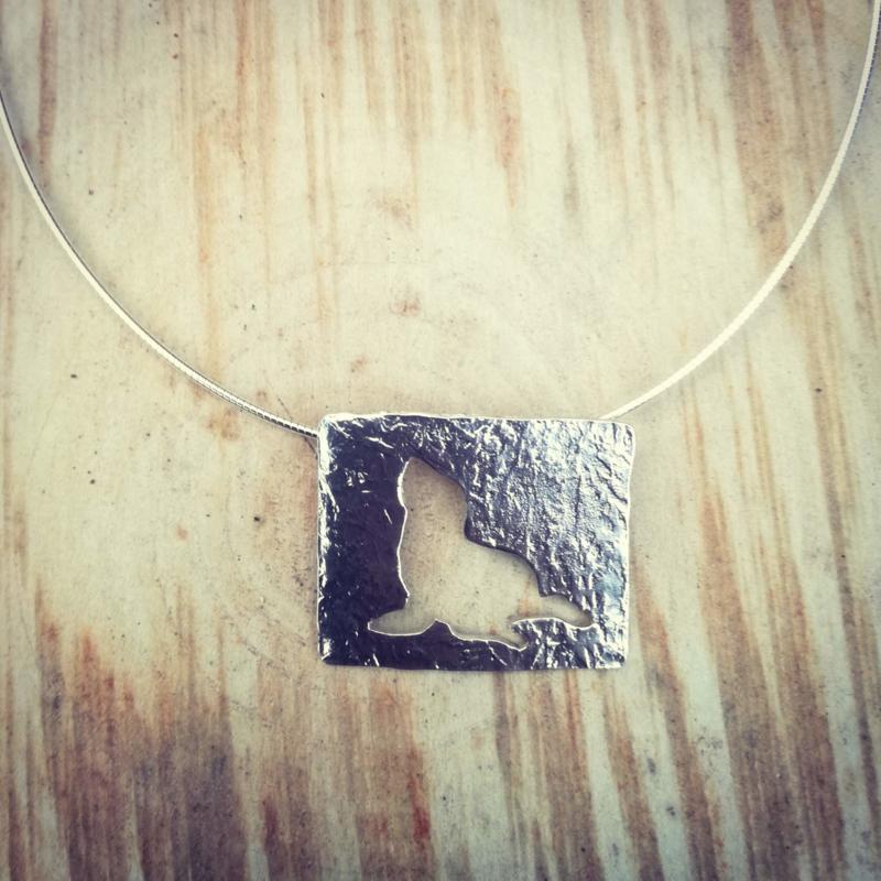 Pendant silver sea lion silhouet - Hanger zilveren zeeleeuw