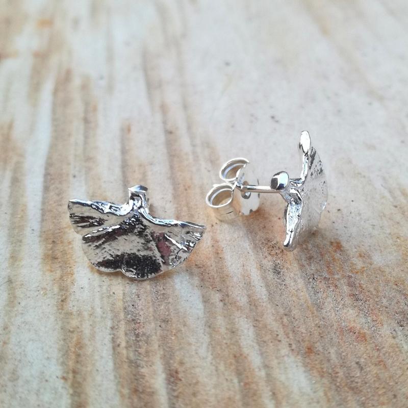 Silver earrings ginkgo - Zilveren oorbellen ginkgo (G6)