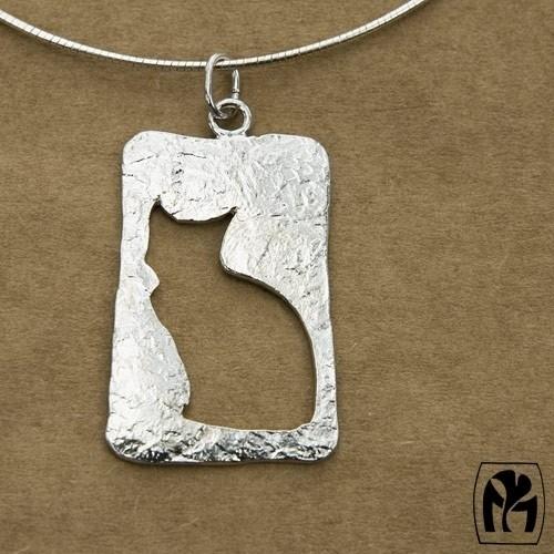 Pendant silver cat silhouette - Hangerzilveren silhouet kat (Ha74)