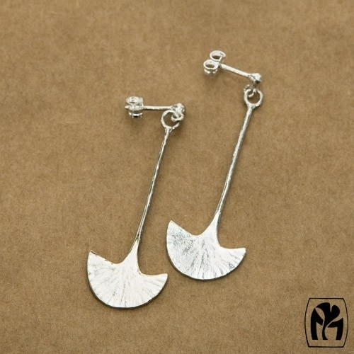 Silver earrings Ginkgo - Zilveren oorbellen Ginkgo (G5)