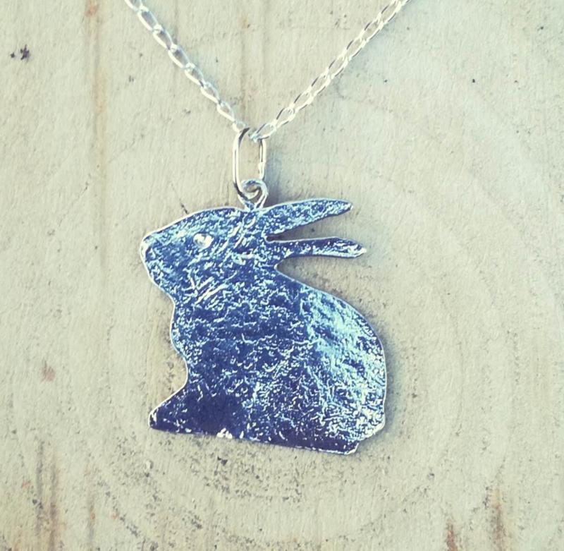 Pendant silver rabbit silhouette - hanger zilveren konijn silhouet