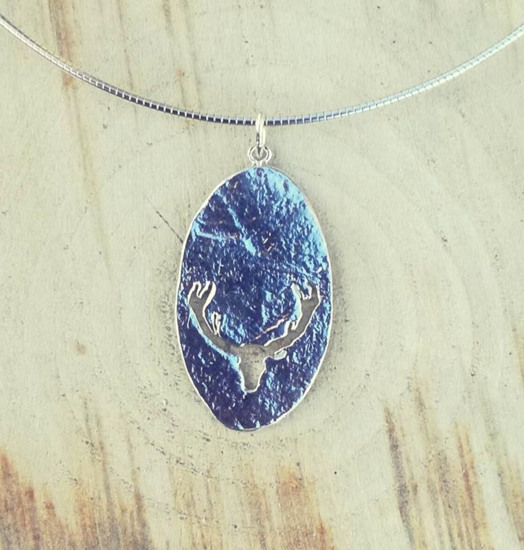 Pendant silver deer silhouette - Hanger zilveren hert silhouet