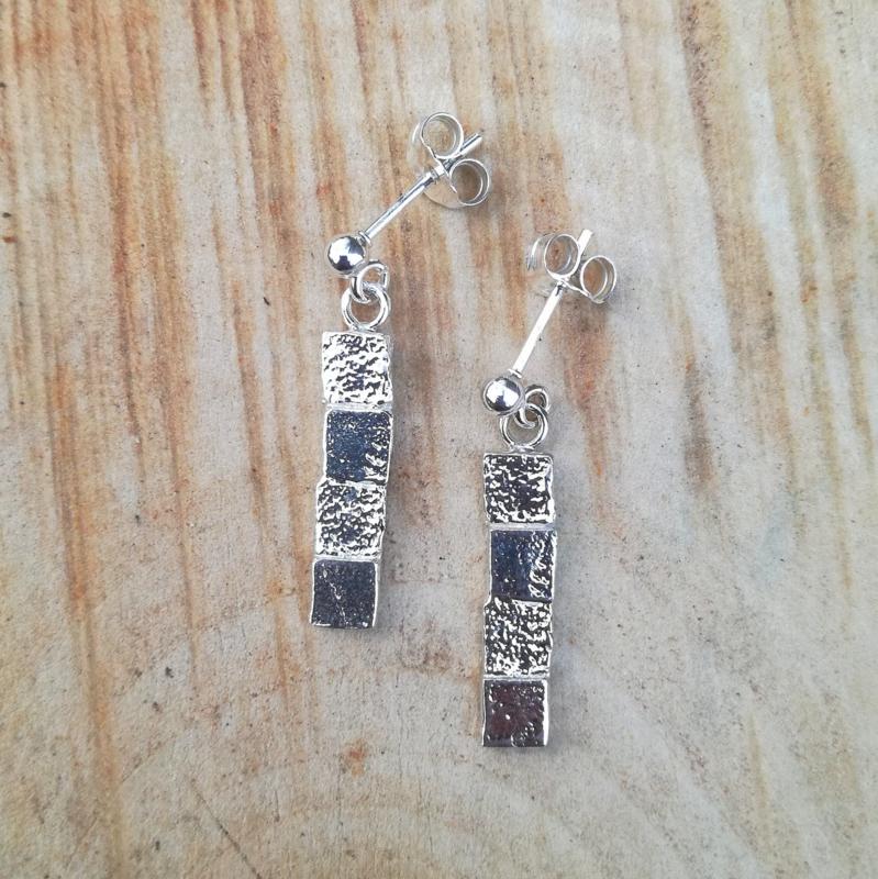 Silver earrings 4 squares - Zilveren oorbellen 4 vierkantjes