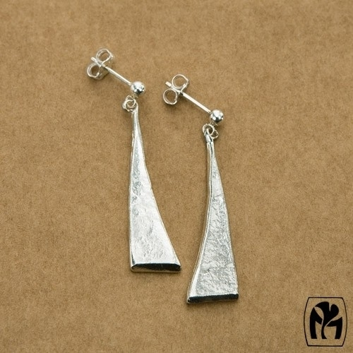 Silver earrings 3D triangle- zilveren oorbellen 3D driehoekjes(L9)