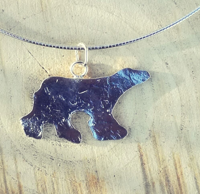 Pendant silver polar bear silhouette - Hanger zilveren ijsbeer silhouet