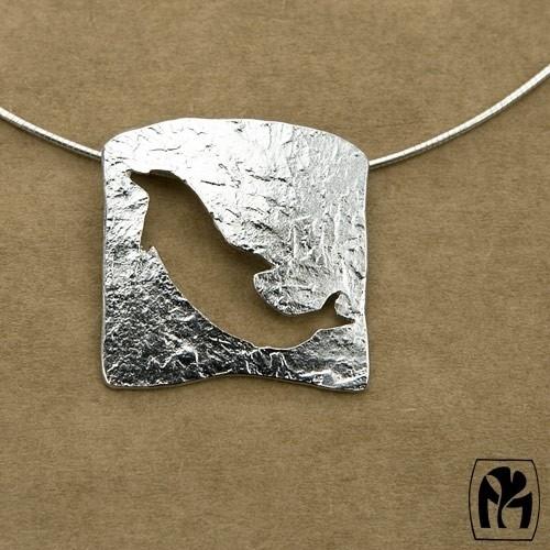 Pendant silver dolphin silhouette - Hanger zilveren silhouet dolfijn (Ha77)