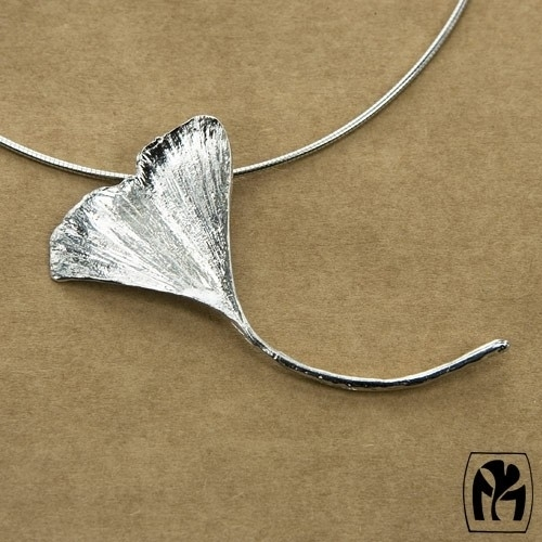 Silver pendant ginkgo - Zilveren hanger ginkgo (Ha56)