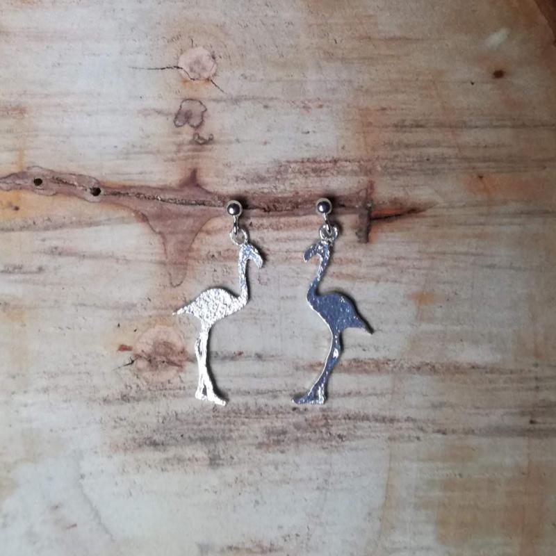 Silver earrings flamingo's - zilveren oorbellen flamingo's