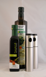 T/M 30-09-20  Latzimas extra vierge biologische olijfolie 750ml  & Biologische balsamico kalamata azijn 250 ml & 2 xOlie Pomp Spray Fles Olijf Kan Tool Pot Koken Rvs 100% nieuw en hoge kwaliteit