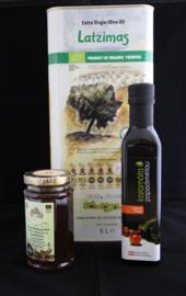 T/M 30-09-20  1X Latzimas griekse  biologische olijfolie extra vierge in 5 liter blik ,1X Kretenzische thym honing, 1X Biologische balsamico kalamata azijn, 250 ml