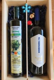Duo box  Griekse bio olijfolie 750 ml en  witte wijn