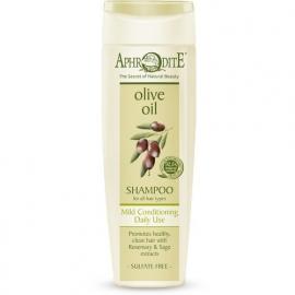 Aphrodite Shampoo olijfolie en rozemarijn, zonder parabenen.