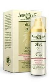 Aphrodite dagcreme zonder parabenen, op basis van olijfolie: nieuwe verpakking.