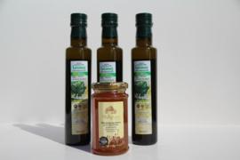 t/m 20-02-20 1X Kretenzische thym honing , 3 flessen 250 ml Latzimas biologische olijfolie extra vierge