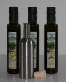 T/M 30-04-2020  3 flessen 250 ml Latzimas biologische olijfolie extra vierge &luxe roestvrijstalen bewaarflesje voor olijfolie of azijn