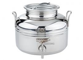 Luxe rvs olijfolievaatje van Sansone voor 10 liter, met kraantje